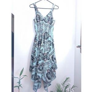 H&M Blue/Black/Brown/White Damask Print Dress